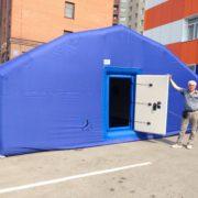 ВЫПОЛНЕННЫЕ ЗАКАЗЫ МЧС Новосибирская Область. 12 м. x 6 м. x 3,3 м. С тентом из ткани Оксфорд. Надувная дверь.